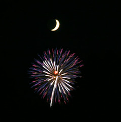 crescent moon (floating_stump) Tags: moon blurry fireworks crescent improvisedtripod