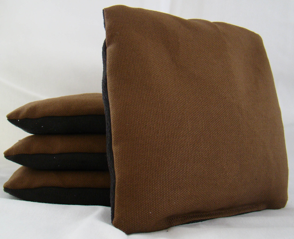 Brown & Black Suede Dual Sided Cornhole Bags
