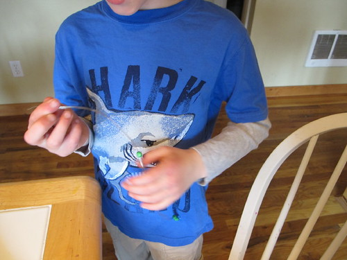 S making a dragonfly pin for Grandma#1
