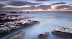 sea of clouds (Dave Valentine) Tags: longexposure sea sunshine clouds point dawn coast rocks australia queensland cartwright
