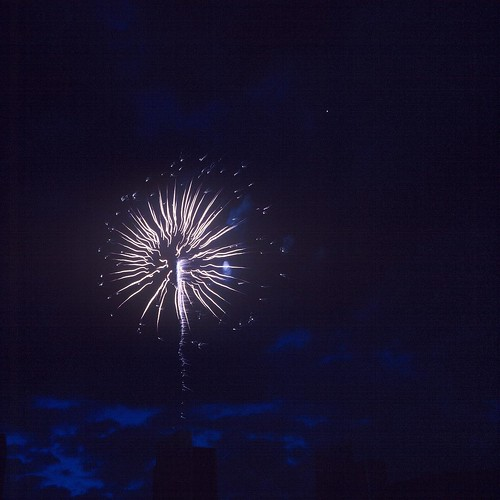 Fireworks at Empire State Plaza, Albany, N.Y., shot with Kodak Ektachrome 64T