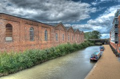 The Wolverton Railway Sheds (Adrian Court LRPS) Tags: water buildings boats miltonkeynes railway flats hdr grandunioncanal wolverton narrowboats wolvertonpark