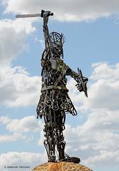 VIKING WARRIOR (SPAIN - GALICIA - CATOIRA) (KAROLOS TRIVIZAS) Tags: sculpture art monument statue spain modernart galicia sword warrior viking pontevedra visby catoira digitalcameraclub blinkagain