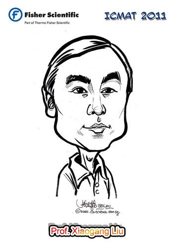 Caricature for Fisher Scientific - Prof. Xiaogang Liu