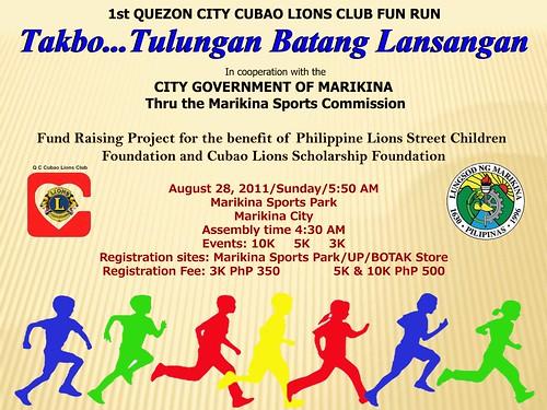 1st Q C Cubao Lions Club Takbo ... Tulungan Batang Lansangan