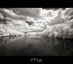 Motion Sickness (Explored) (Mike Orso) Tags: bridge bw ny seascape reflection river landscape ir bearmountain infrared converted nik hudson rebelxt photomo silverefex 665nm