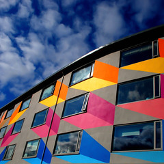 Candyshadows (Arni J.M.) Tags: windows shadow sky building wall architecture clouds geotagged iceland islandia colours reykjavik geotag reykjavk sland islande islanda nikond80 bestcapturesaoi candyshadows