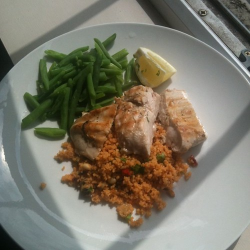 Griddled chicken with lemon barley couscous