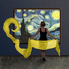 Starry Light (YetAnotherLisa) Tags: portrait yellow night scarf self stars vangogh starrynight teleidoscope