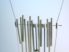 """Blue blood"" silver necklace (aka jewellery) Tags: blue light white geometric colors lines metal modern necklace blood long designer gray shapes style jewelry minimal hanging symmetric hip simple stylish chian geomertical"