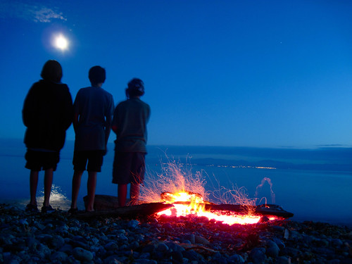 Summer Beach Fire with Moon above and Nanaimo across the Strait