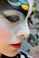 Swallow Tattoo (Florentina Gloria) Tags: pink sky colors beauty look yellow tattoo hair mask traditionalart cyan magenta makeup greeneyes geisha rockabilly redlips bodyart pinup swallows utorial cosmeticapplication florentinagloria