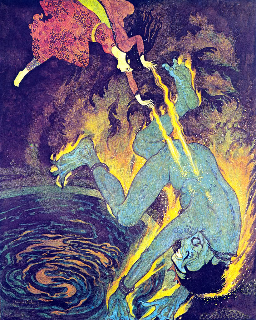 Edmund Dulac - 'The Princess burns the Elfrite to death', original for illustration to The Story of the Three Calendars from Sinbad the Sailor and other stories from the Arabian Nights (Hodder & Stoughton, 1914)