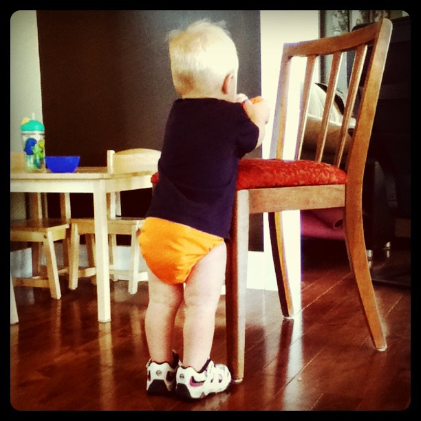 Don't ask me why but he HAD to have his sneakers on! #lifewithatoddler