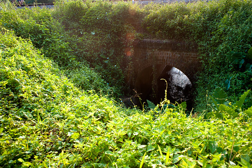 A stream crossing under the KTM railway track