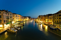Blue Hour View from Rialto Bridge - [EXPLORED] (andreaskoeberl) Tags: city longexposure venice italy rialtobridge water night boats canal nikon wideangle bluehour rialto canalegrande 1116 d7000 tokina1116 nikond7000 andreaskoeberl