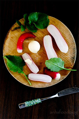 Home-grown French breakfast radishes with butter and sea salt