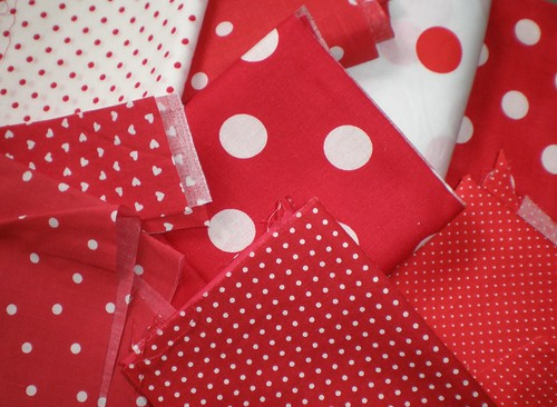 Red polka dot fabric samples