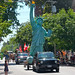 Lady Liberty at the Sackets Harbor Can-Am Festival Parade: She's everywhere, She's everywhere! Photo: Kenyon Wells, Sackets Harbor NY.