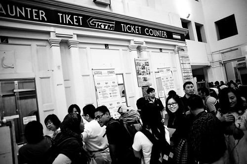 There was much confusion at the ticketing booth as people tried to get confirmation of whether it was still possible to get a ticket for the last train.