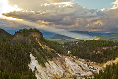 The Bleached Cliffs of Yellowstone National Park, Wyoming, USA (Christopher Brian's Photography) Tags: trees sunset usa mountains colour clouds forest yellowstonenationalpark wyoming canonef2470mmf28lusm landscapephotography canoneos7d bleachedcliffs