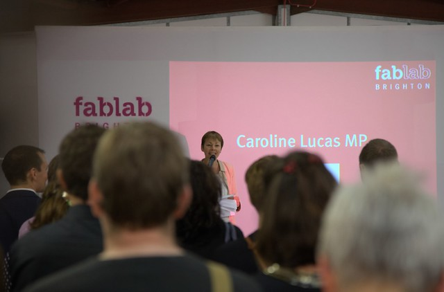 Caroline Lucas at Brighton Fablab Event