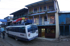 Bus out side the Yak Hotel before the trek into the Tamur river Adventure rafting Kayaking trip