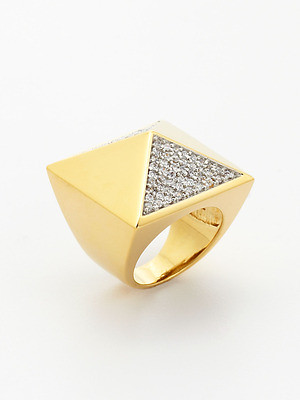 Noir Gold Pyramid Stud Ring Size 6