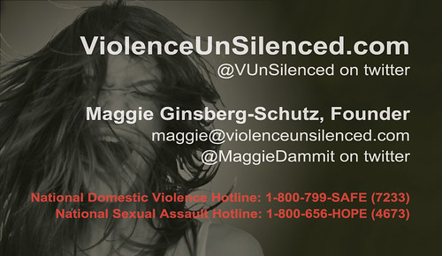 ViolenceUnSilenced.com business card, back