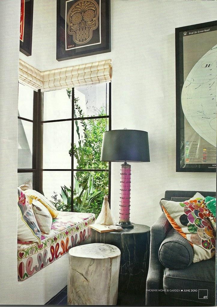 Berkley Vallone / Phoenix Home and Garden {eclectic vintage flea market bohemian living room / window seat / banquette}