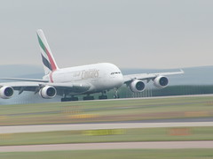 Emirates A380 Landing Manchester (Alex Staniforth: Wildlife/Nature Photography) Tags: 3 alex cheshire wildlife casio peaks staniforth stani exfh20