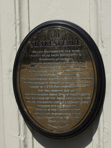 The Shakespeare, Summer Row, Birmingham - plaque - William Shakespeare / Birmingham Assay Office / Jewellery Quarter