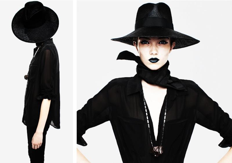 fedora hat shiffon shirt