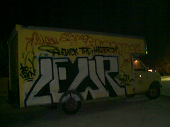 FUCK THE HATERS!! (*Breeding The Disease*) Tags: 2001 art mobile truck painting graffiti paint all fuck you who know 11 spray illegal 20 graff 707 tagging bombing lr lure samer btd haters cmf hba piecing b2d lewer levn lewar lewor lewr sugoe