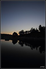 Time to reflect (jimhelge) Tags: ocean trees sunset sea reflection water norway photoshop canon norge reflect leirfjord levang eos550d