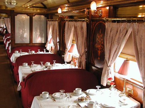 Al Andalus, luxury train in southern Spain, dining car
