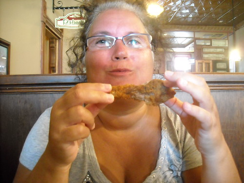 The Woman I Love in the midsts of a Foodgasm with her Fried Chicken.