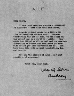 Audrey letter to Hank Mancini