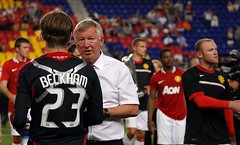 Beckham chats with Ferguson