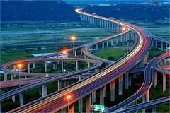 - Night view of ChingShuei Interchange High way No.3 (prince470701) Tags: taiwan taichung   carstrails sonya850 sony2470zaf28 chingshueiinterchangehighwayno3