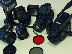 "some of my Bronica SQAi gear • <a style=""font-size:0.8em;"" href=""http://www.flickr.com/photos/44919156@N00/5989993720/"" target=""_blank"">View on Flickr</a>"