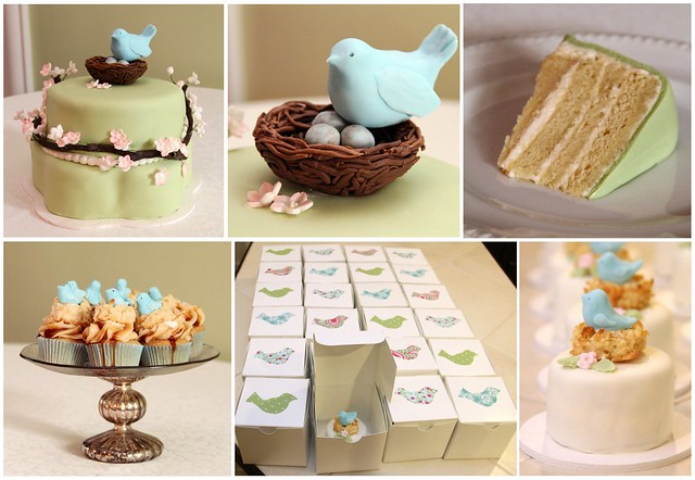 feathering the nest baby shower cake and cupcakes set