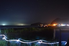 An attempt at night photography (Beckywithasmile) Tags: ocean longexposure travel camping light summer camp beach japan night coast nikon long exposure hokkaido explore torch   flashlight     ishikari     hamamasu beckywithasmile  july2011  d5100 nikond5100