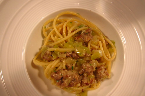 Spaghetti with Sausage and Leeks