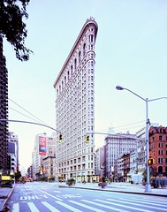 flatiron building at dawn, new york city (andrew c mace) Tags: nyc newyorkcity longexposure film analog cityscape manhattan wideangle 4x5 monorail provia flatironbuilding xl flatiron largeformat schneider cambo 100f v700 superangulon 72mm epsonv700 colorefex nikoncapturenx schneider72mmxl