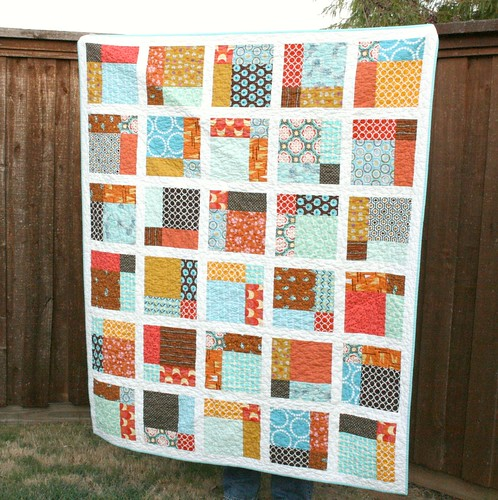 aqua, orange & brown Market Street Quilt