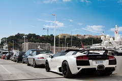 Lifestyles. (Alex Penfold) Tags: auto camera white france cars alex sports car sport mobile canon french photography eos photo cool flickr riviera image harbour top awesome flash wing hard picture convertible super spot monaco exotic photograph huge spotted hyper carlo cote monte rims lamborghini supercar spotting numberplate exotica sportscar spoiler sportscars supercars roadster murcielago penfold dazur spotter 2011 baclk lp640 hypercar 60d hypercars z168 alexpenfold