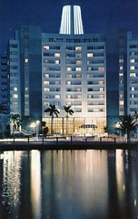 Eden Roc Hotel_Miami FL (Edge and corner wear) Tags: architecture modern night century vintage hotel pc shot postcard modernism mimo architect chrome morris mid midcentury lapidus