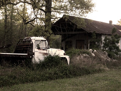 Forgotten (peanutbasher) Tags: old building grass truck photography weeds country northcarolina forgotten shack