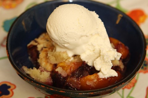Peach, Nectarine, Rhubarb, and Blueberry Cobbler with Longford's Tahitian Vanilla Ice Cream